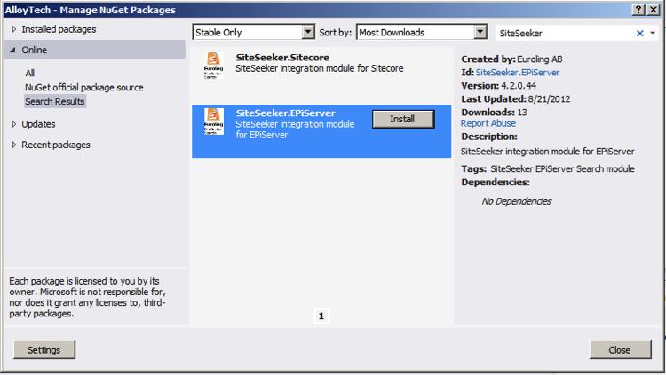Use NuGet to install SiteSeeker's integration modules — Euroling